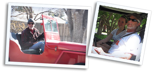 George, his daughter Clara and his jeep